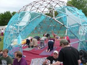 Yoga workshop at dome at tddt 2014